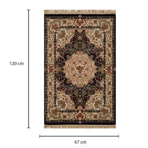 Tapete Persa Qom Preto com Detalhes Florais - 67x120cm