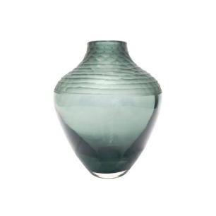 Vaso Decoratico em Vidro Cinza com Relevo - 21x18cm