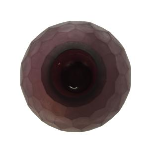 Vaso Decorativo Roxo Fosco em Vidro Facetado - 24x13x13cm