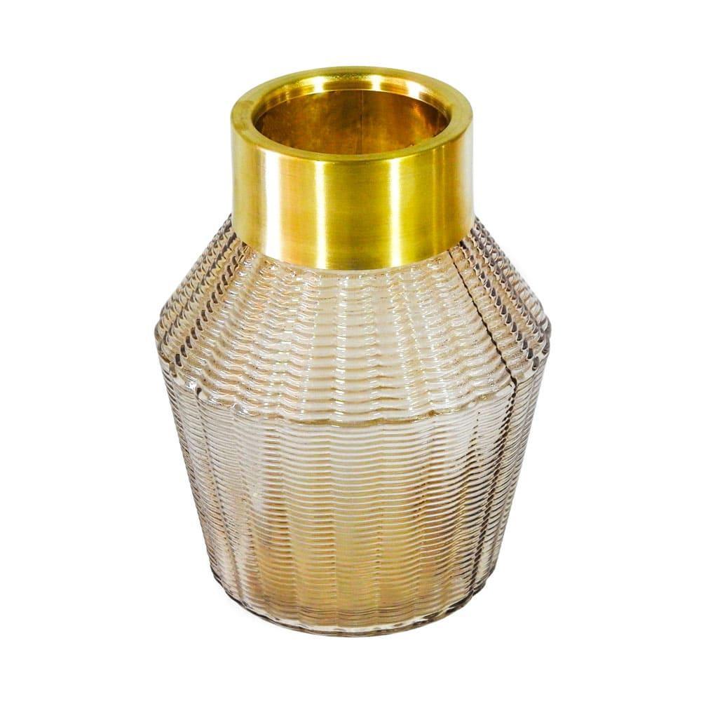 Vaso Decorativo em Vidro na Cor Marrom - 21x16cm