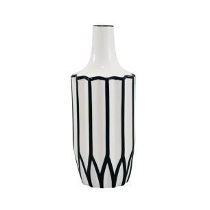 Vaso Decorativo Branco com Detalhes em Branco - 30x10x10cm