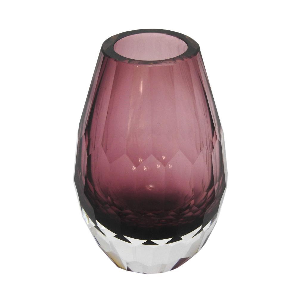Vaso Decorativo Roxo em Vidro Facetado - 15x9x9cm