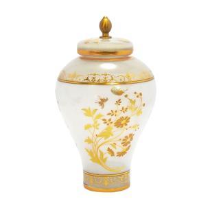Potiche em Vidro Branco com Detalhes Dourado - 30x17cm