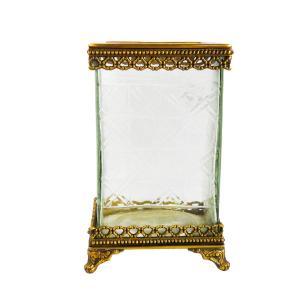 Vaso Decorativo em Metal e Vidro - 23x14x12cm