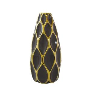 Vaso Decorativo em Porcelana Marrom e Dourado -  40x18 cm
