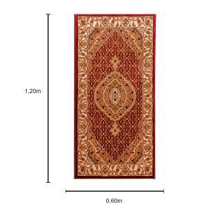 Tapete Persa Tabriz Vermelho com Detalhes Creme - 120x60cm