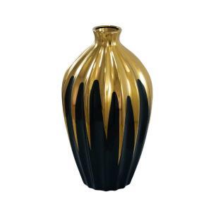 Vaso Decorativo Preto com Detalhes em Dourado - 40x20x20cm