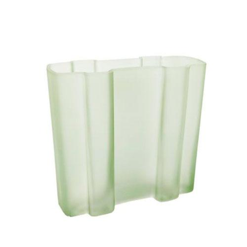 Vaso em Vidro na Cor Verde Claro com Relevo - 19,5x17cm