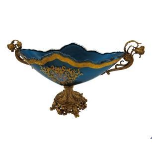 Centro de Mesa Em Cristal Azul com Detalhes em Dourado - 28x51x19cm