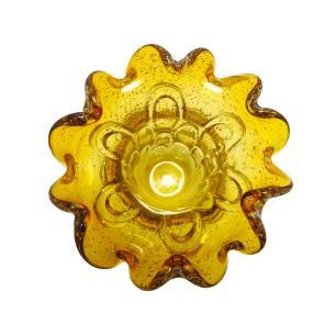 Vaso Decorativo em Murano Âmbar com Detalhes - 23x30x23cm
