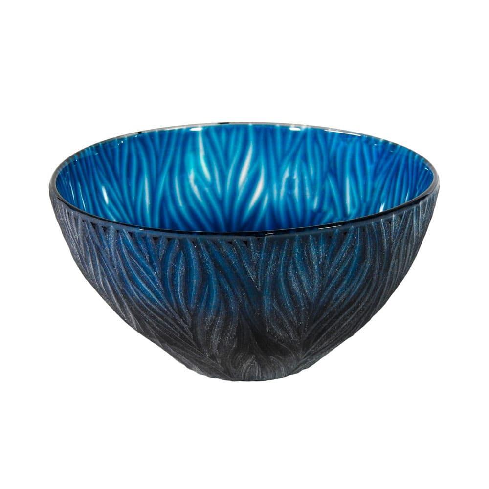 Vaso Decorativo em Vidro na Cor Azul - 15x29cm