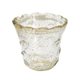 Vaso em Murano Incolor com Detalhes Dourado - 17x17x17cm