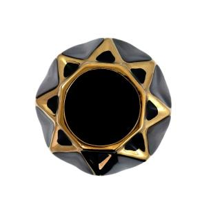 Vaso Decorativo Preto com Detalhes em Dourado - 24x13x13cm