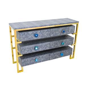 Gabinete Aço Inox Cinza com Dourado - 78x120x36cm