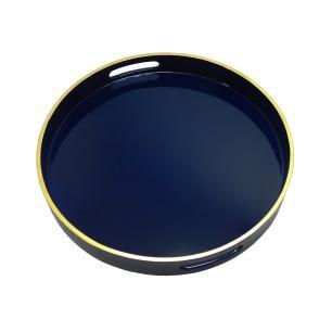 Bandeja Redonda  Azul com Detalhes em Dourado nas Borda - 5x38cm
