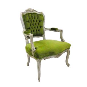 Poltrona em Madeira com Estofado Verde - 67x94x67cm