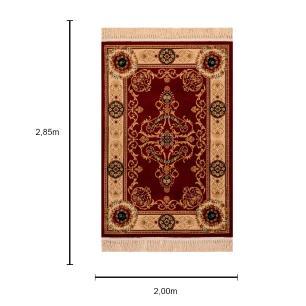 Tapete Persa Vermelho com Detalhes Bege - 200x285cm