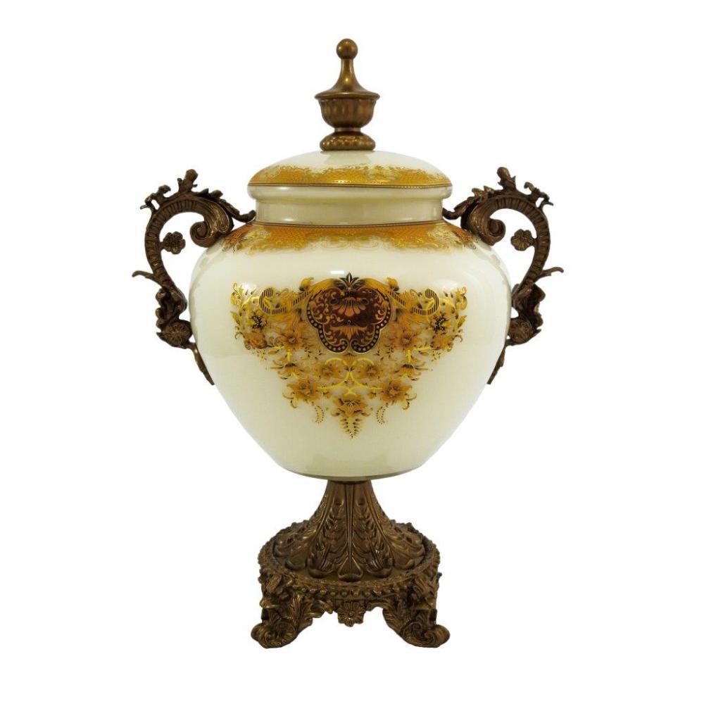 Potiche em Cristal Branco e Dourado - 33x22x17cm