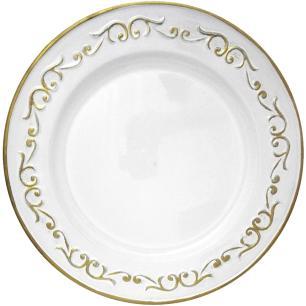 Conjunto com 6  Sousplat Produzido em Resina na Cor Branca com Detalhes em Dourado - 2x33cm