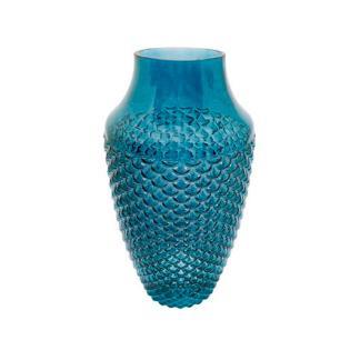 Vaso Decorativo em  Vidro na Cor Azul Escuro  - 27x14cm