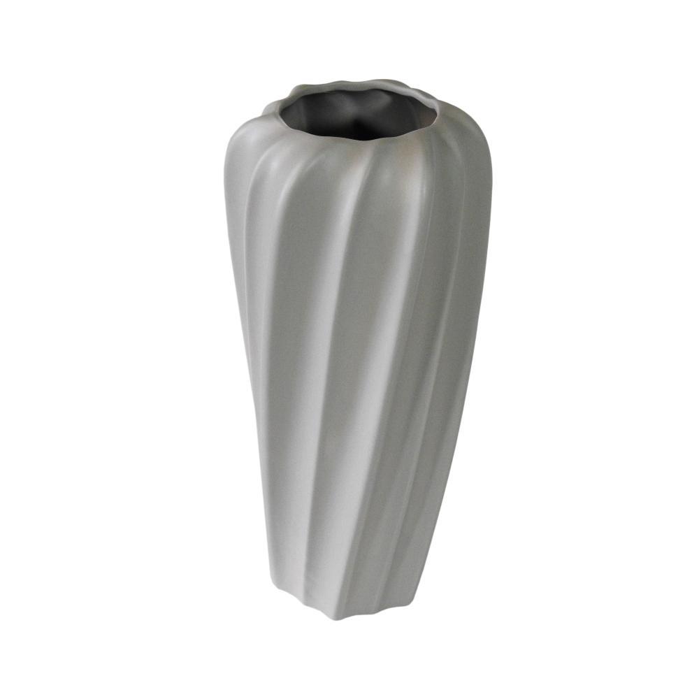 Vaso Decorativo em Cerâmica na Cor Cinza Claro - 34cm