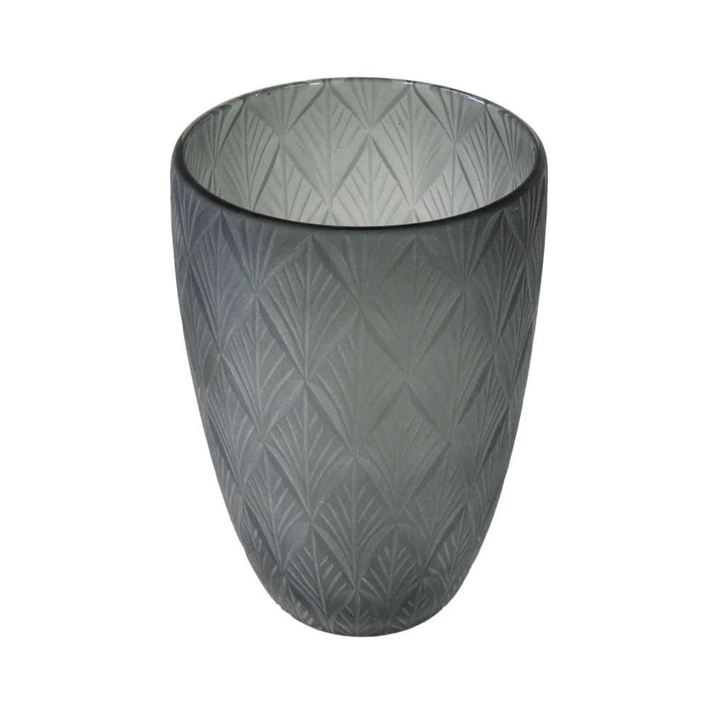 Vaso Decorativo em Vidro na Cor Cinza - 23x17cm
