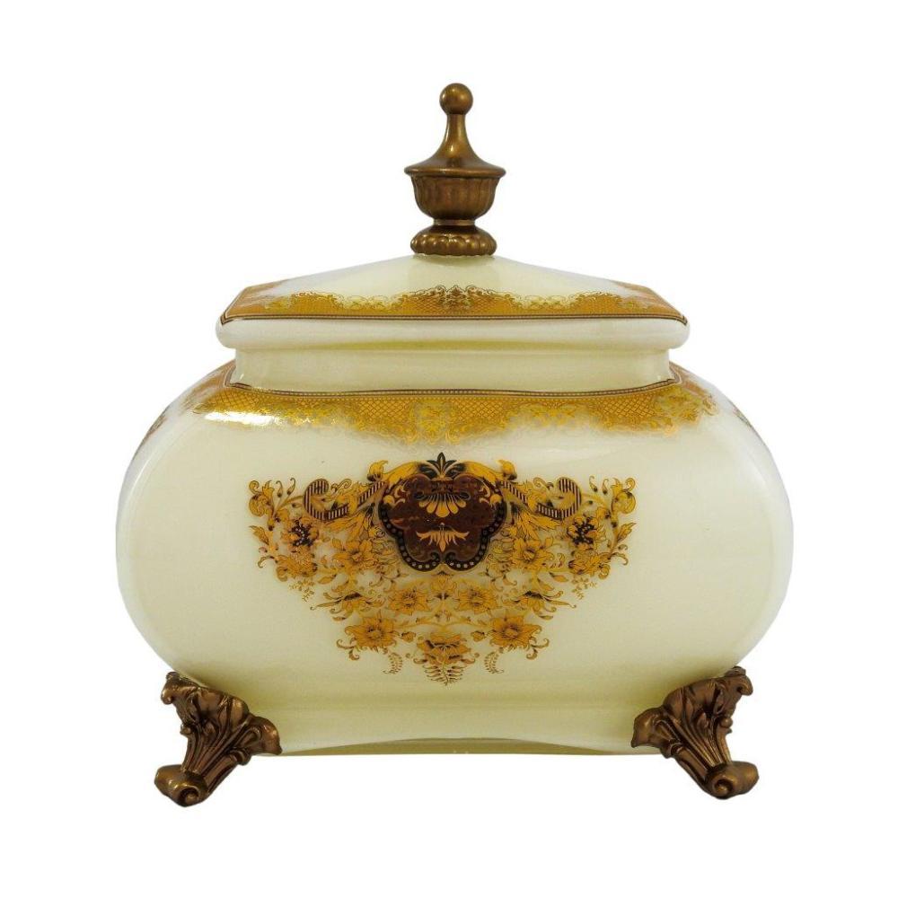 Caixa em Vidro Branco e Dourado - 23x22cm