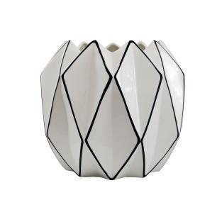 Vaso em Cerâmica Decorativo Preto e Branco - 29x34x34cm