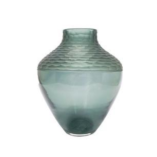 Vaso Decoratico em Vidro Cinza com Relevo - 26x21cm