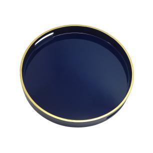 Bandeja Redonda Azul com Detalhes em Dourado nas Borda - 4x35cm