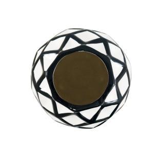 Vaso em Cerâmica Decorativo Preto e Branco - 35x14x14cm