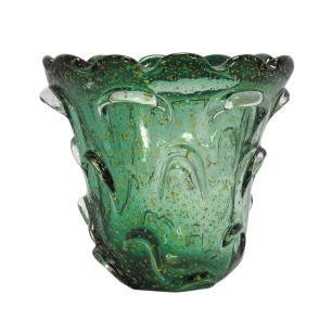 Vaso em Murano Verde com Detalhes Dourado - 17x17x17cm