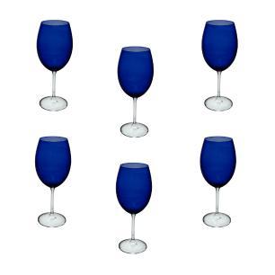 Jogo de Taças Gastro em Cristal Azul para Água  - 6 Peças