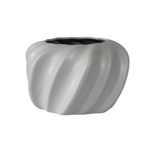 Vaso Decorativo em Cerâmica na Cor Cinza Claro - 17cm