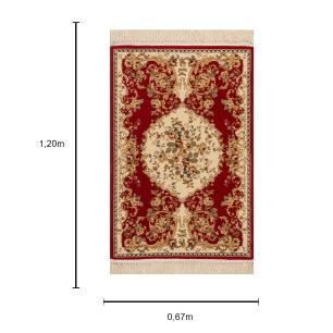 Tapete Persa Vermelho em Detalhes Bege - 67x120cm
