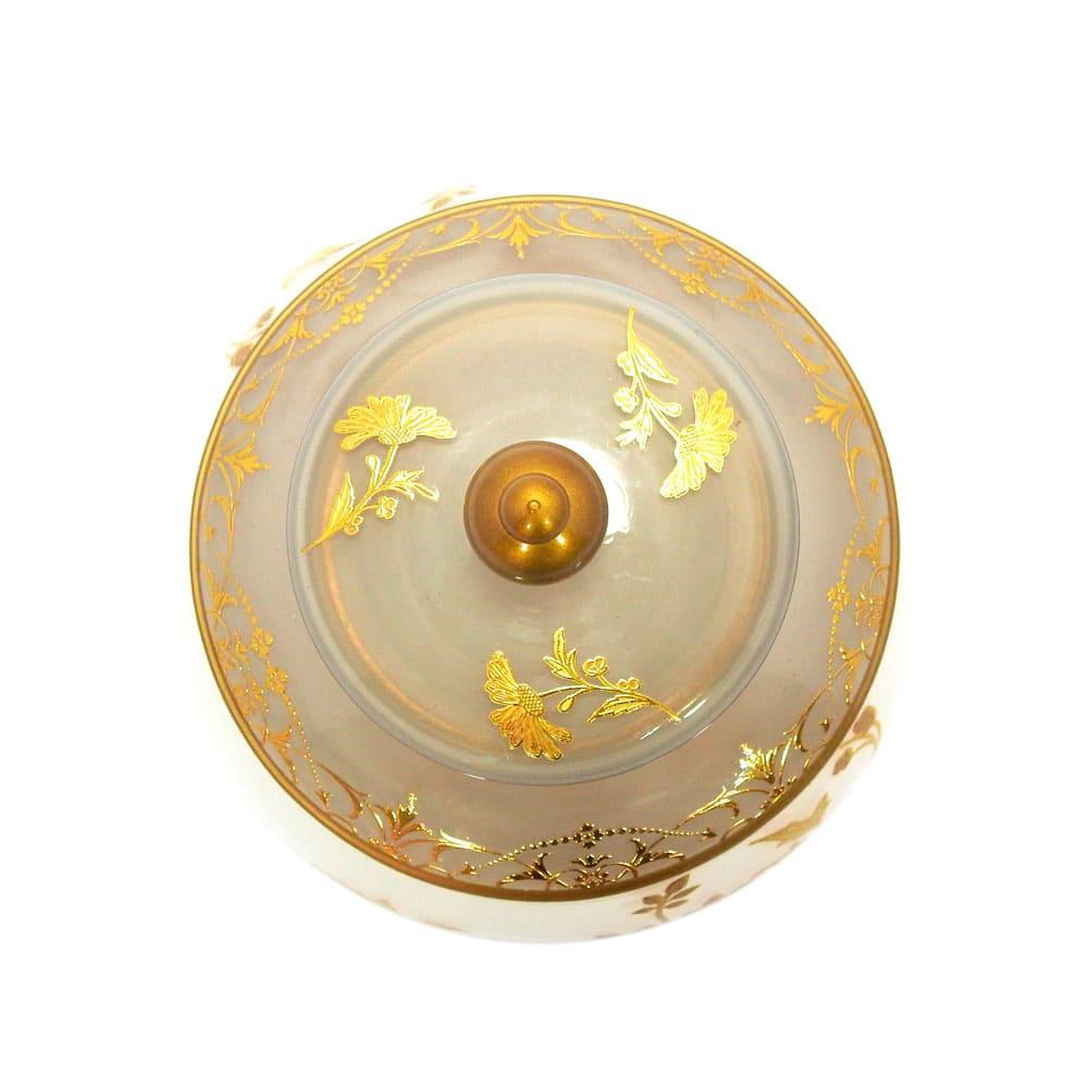 Potiche em Vidro Branco com Detalhes Dourado - 23x13cm