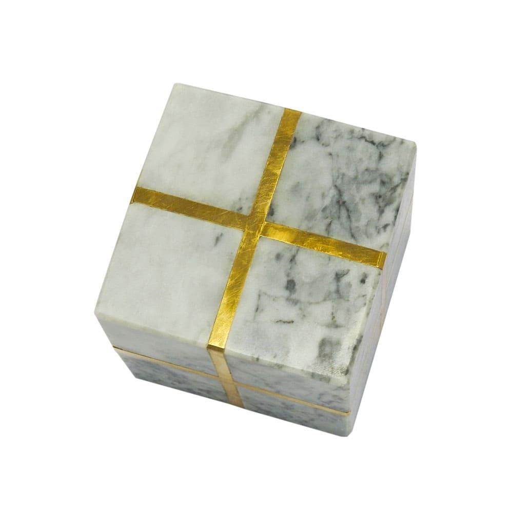 Cubo Decorativo em Mármore e metal - 8x8cm.