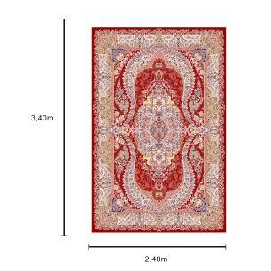 Tapete Persa com Franja Bege e Vermelho - 240x340cm