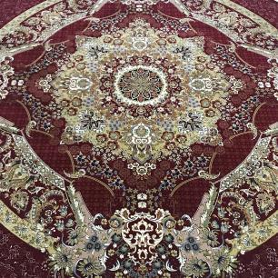 Tapete Persa Redondo Vermelho com Detalhes Bege - 250x250cm