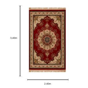 Tapete Persa Tabriz Mahi Vermelho e Bege - 240x340cm