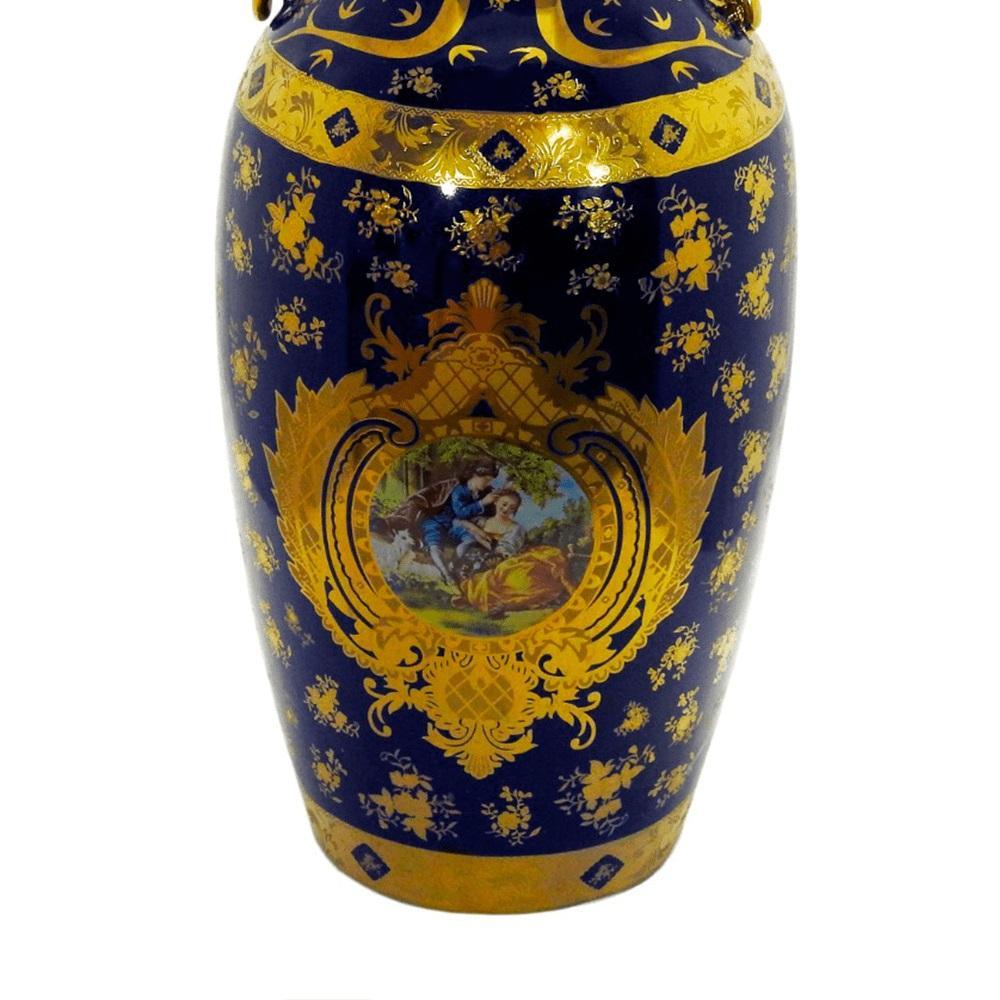 Vaso Decorativo em Porcelana Azul com Detalhes em Dourado - 61x26x26cm