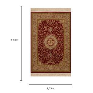 Tapete Persa Bege com Detalhes Vermelho - 133x190cm