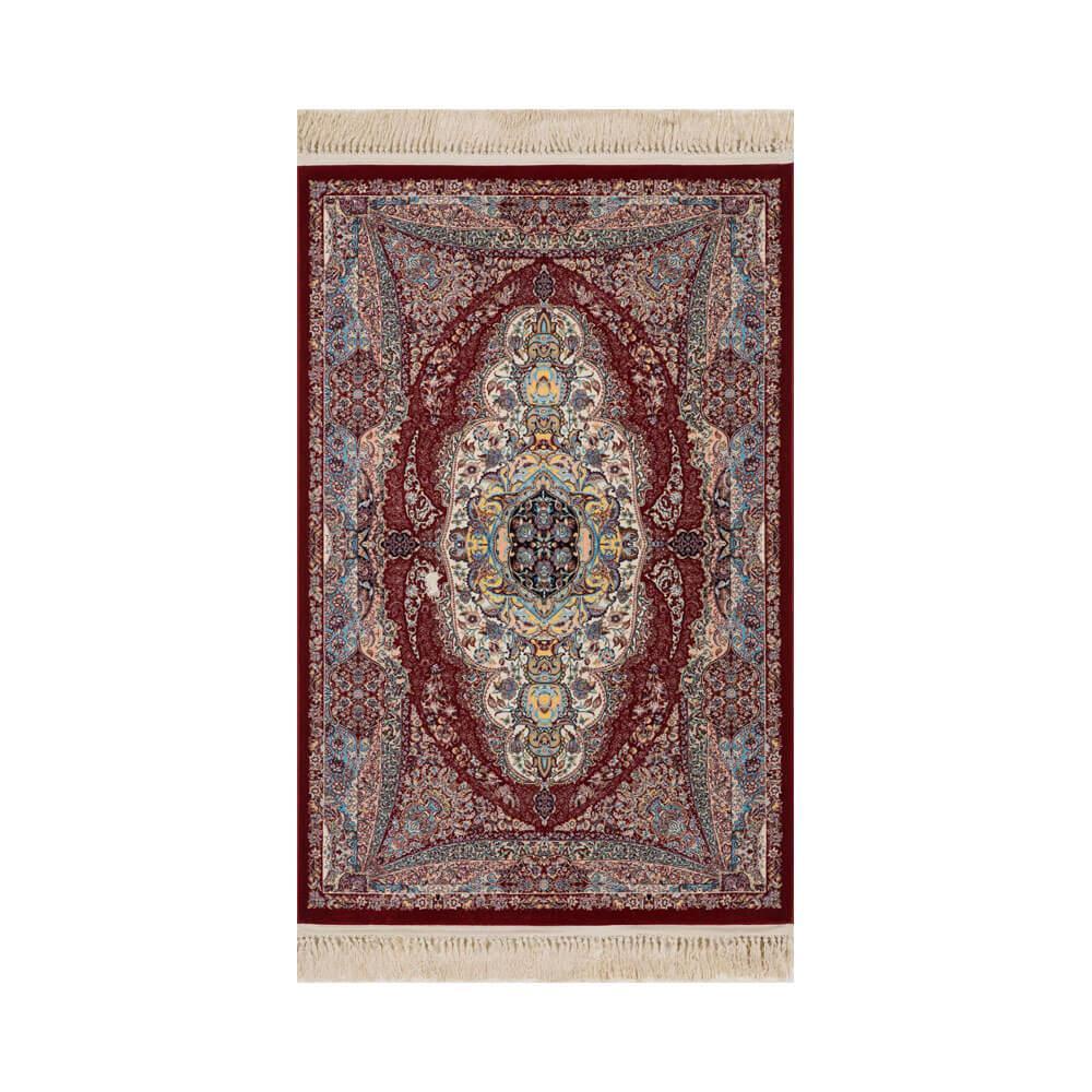 Tapete Persa Mashad Bege com Detalhes em Vermelho - 57x90cm