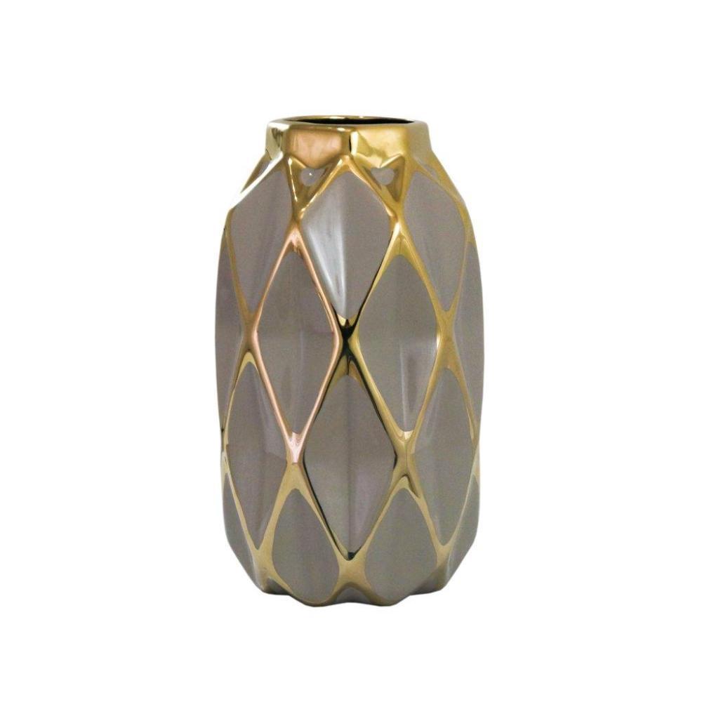 Vaso Decorativo Marrom com detalhes em Dourado - 24x13x13cm