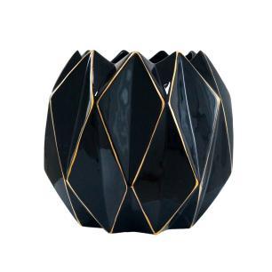 Vaso em Cerâmica Decorativo Preto e Dourado - 29x34x34cm