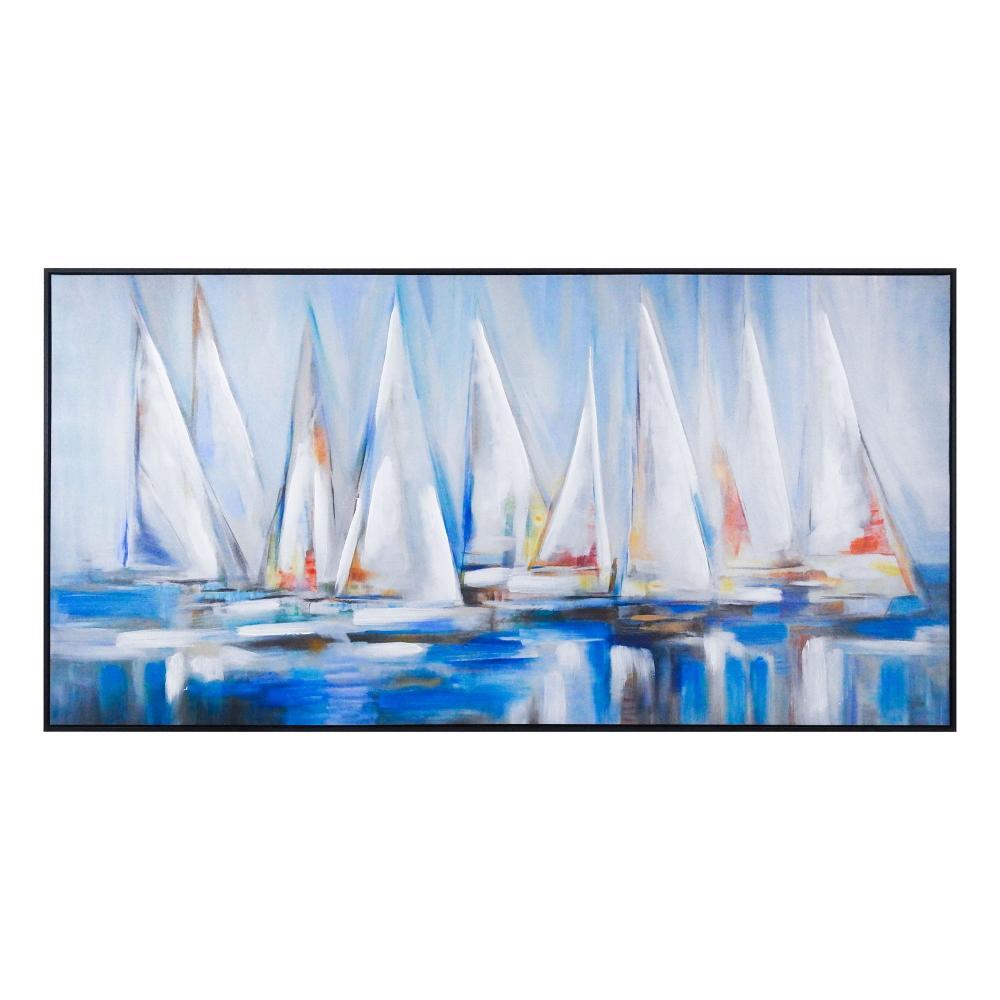 Quadro em Canvas Veleiros Abstrato - 79x155cm