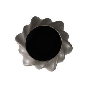 Vaso Decorativo em Cerâmica na Cor Cinza Escuro - 17cm