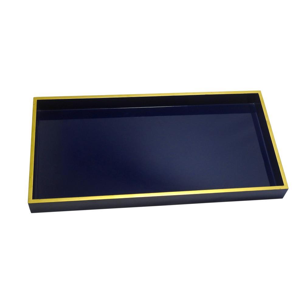Bandeja Decorativa Azul com Detalhes em Dourado nas Bordas - 5x60x30cm