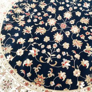 Tapete Persa Redondo Bege e Preto Floral - 200x200cm