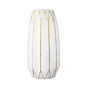 Vaso Decorativo em Vidro na Cor Branca com Detalhes em Dourado - 31x16cm